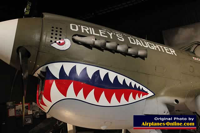 "Nose art on Curtiss P-40N Warhawk ""O'Riley's Daughter"""