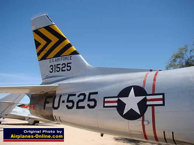 Close-up of the tail section of the North American F-86H S/N 31525, Buzz Number FU-525