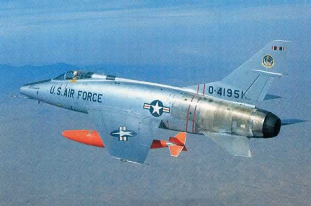 F-100 Super Sabre S/N 41951 in flight, as shown in this historic postcard