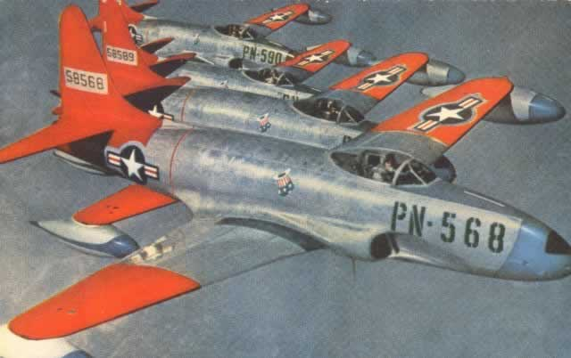 Flight of P-80 Shooting Star jet fighters, with S/N 58568, Buzz Number PN-568, in the foreground