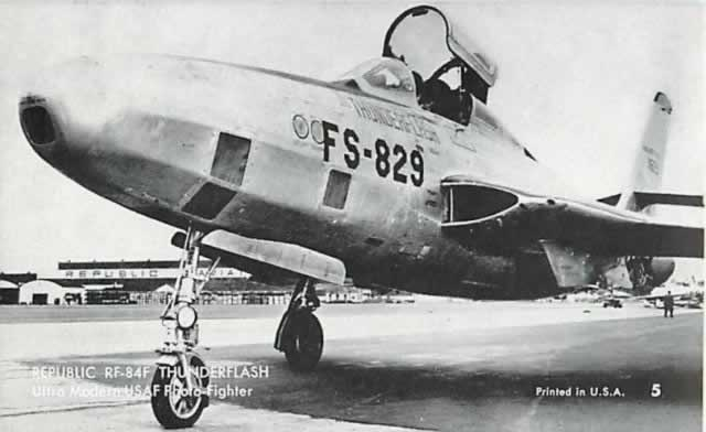 Republic RF84-F Thunderflash, Buzz Number FS-829, parked on the apron