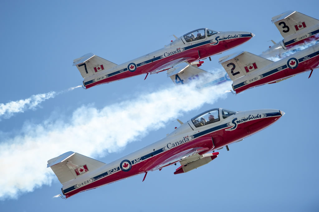 Snowbirds of the Royal Canadian Air Force demonstration team flying in formation