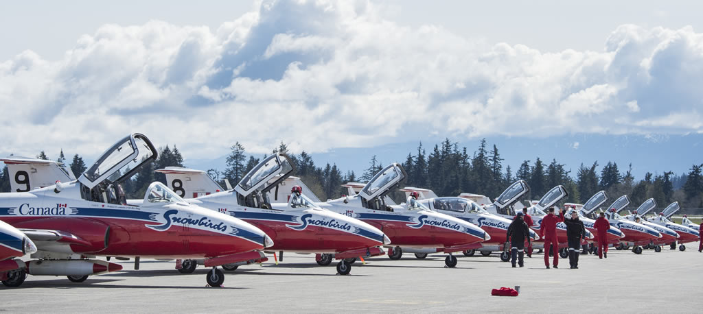Snowbirds of the Royal Canadian Air Force preparing for another air show