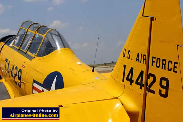 North American T-6 Texan, S/N 51-14429, TA-429, N729AM, parked at Pounds Regional Airport, Tyler Texas, for the 2013 Thunder over Cedar Creek Air Show