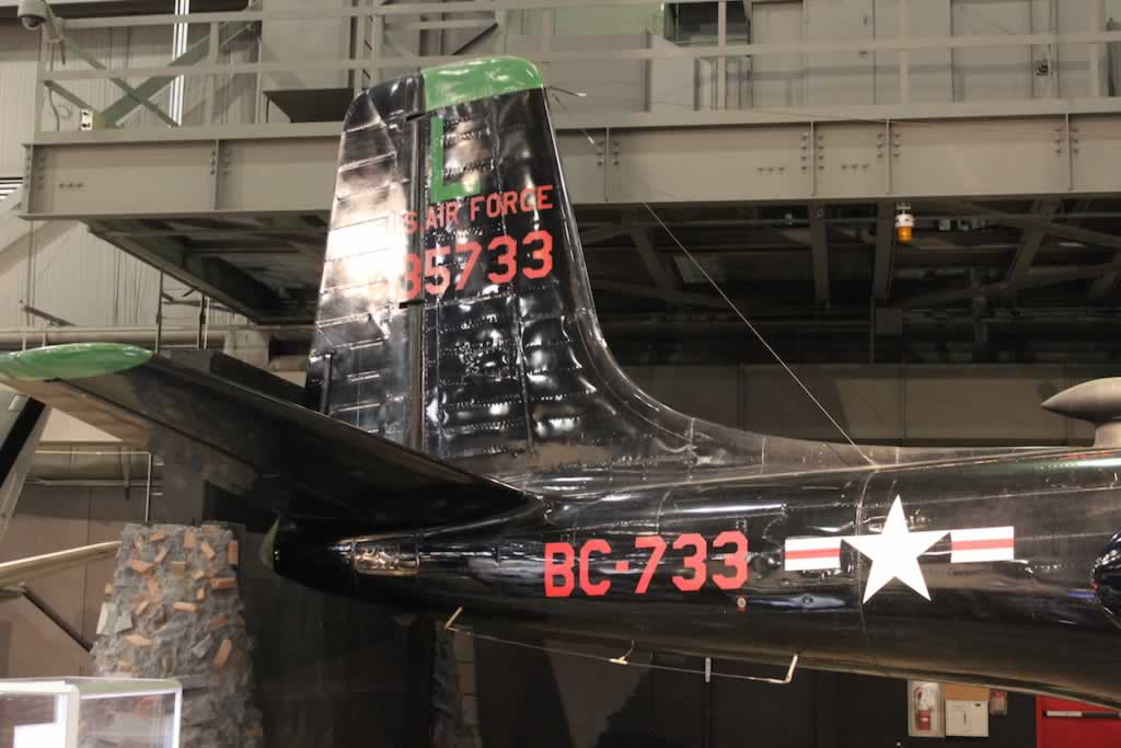 Tail section of the B-26C Invader, S/N 435733, Buzz Number BC-733
