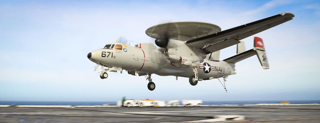 U.S. Navy E-2D Hawkeye during carrier landing on the USS Abraham Lincoln