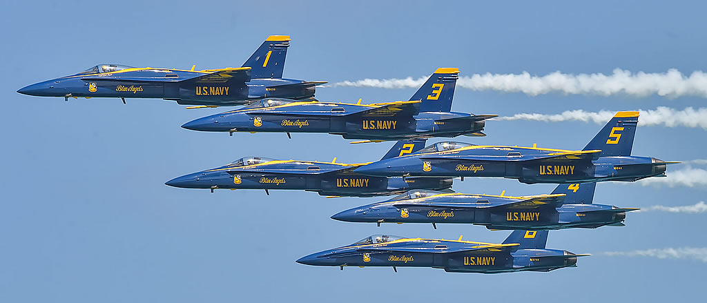 U.S. Navy Blue Angels in-flight performance in thier F/A-18 Hornets