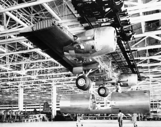 Partially completed wing assembly of the Boeing B-29