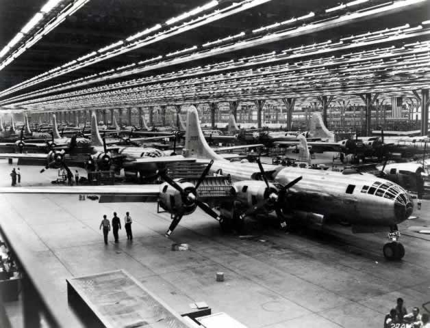 Boeing Wichita Plant, inside view of B-29s on the assembly line